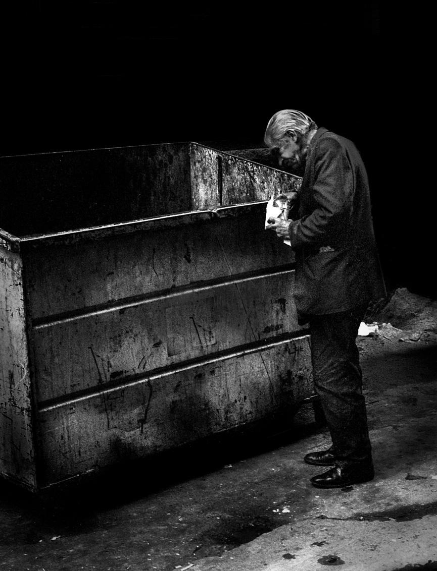 Man Eating Out of Dumpster 1972 V3 mr