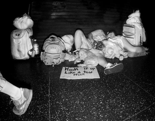 Homeless Couple Hollywood Blvd infrared flash 2015 Daniel D. Teoli Jr.