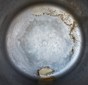 Distillation residue from 1 gallon of Crystal Geyser Alpine Spring water
