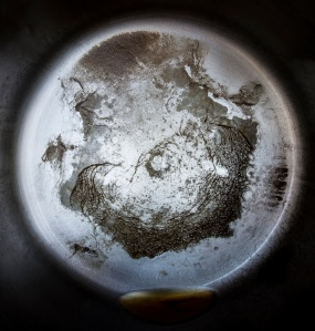 Distillation residue from 1 gallon of unfiltered Ohio River water