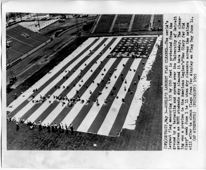 Dry Cleaning the biggest American flag in the World - Univ. Detroit 1955 - Daniel D. Teoli Jr. Archival Collection