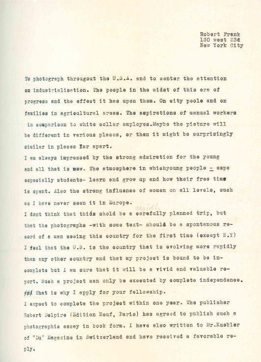 Robert Frank Americans Guggenheim application draft 1954