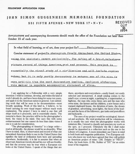 Robert Frank's Guggenheim Application 1954