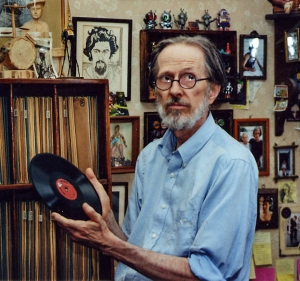 Robert Crumb with his collection of 78's