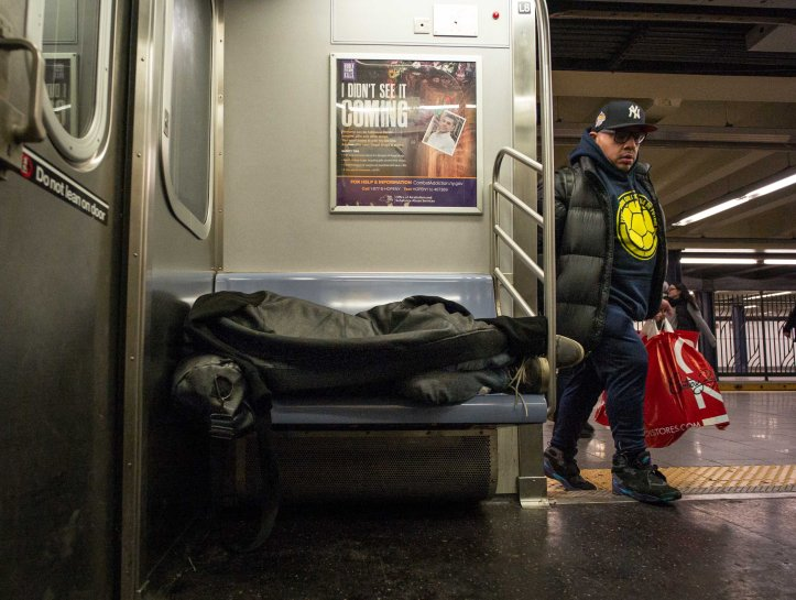 man sleeping in nyc subway d.d. teoli jr.