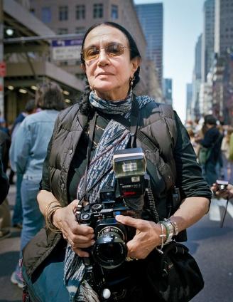 Mary Ellen Mark with street camera setup