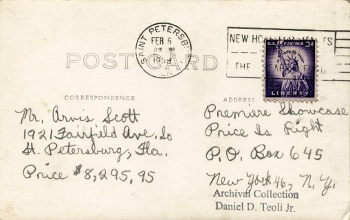 price is right 1959 postcard D.D. Teoli Jr. A.C.